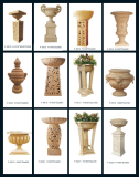 Sandstone Carved Statue Sculpture Lighting Flowerpot