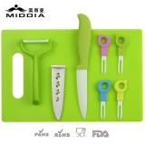 8pcs Ceramic Fruit Tool Set for Knife+Forks+Peeler+Chopping Board