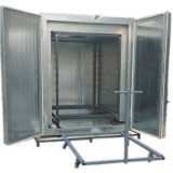Electric powder coating oven with trolley