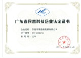 Provincial Non-Governmental-Run Science and Technology Enterprise Certificate