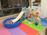 Bear style plastic slide and swing set1