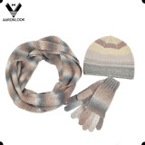 Trendy Winter Space Dyed Yarn Knitted 3PCS Set Scarf Hat Glove