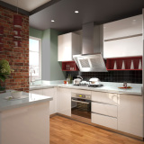 Bangladesh Condo Project White U Shape Lacquer Kitchen Cabinets (OP15-L08)