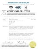 CUPC Certifcate for ceramic basin