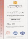 ISO9001:2008 International Quality System Certificate