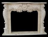 white travertine fireplace