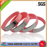 metal and print silicone wristband