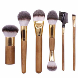 2017 high quality 6pcs makeup brush set with bamboo handle