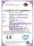 MOTORCYCLE BATTERY CE/EMC CERFICATE