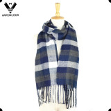 Fashion Men Plaid Pattern Acrylic Woven Scarf