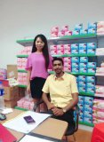 customer visiting to our factory for sanitary napkin