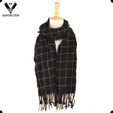 Hot Sale Black White Pashmina Check Grid Scarf with Fringes