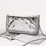 Mirror Rhombic Patterns PU Chains Shoulder Bag