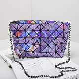 Laser Purple 5X8 Rhombic Geometric PU Shoulder Bag Crossbody Bag