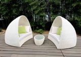 Italian Furniture Unique Design Curved White Rattan Double Daybed