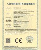 CE certificate of mercury lamp