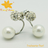 Classical white color freshwater pearl with crystal earrings