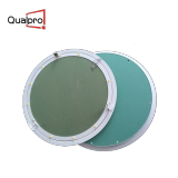 Round aluminum access panel with snap touch lock
