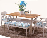 New design solid wood dinning furniture two layer table and chairs set
