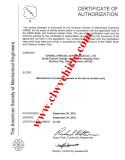 Certificate of ASME