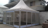 5x5m pagoda with glass wall, glass door and plywood floor
