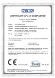 CERTIFICATE of LVD COMPLIANCE(LED Projection Lamp)