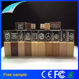 Free Custom Logo Crystal Wooden USB Flash Drives