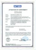 Certificate of PSE compliance