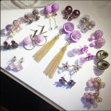 European and American fashion purple flower earrings