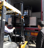 loading the goods by forklift