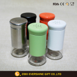 Glass Spice Jar Set with Color Stainless Steel Coat and Lid