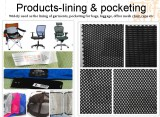 lining of garments, pocketing for bags, luggage, office mesh chair,caps etc