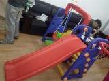 hot selling playground children plastic slide with swing on sell