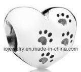 Custom paw print bead heart shape