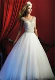 2016 New Arrival Beaded Cap Sleeves Princess Wedding Dress (Dream-100029)