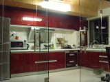 Red Lacquer kitchen cabinets