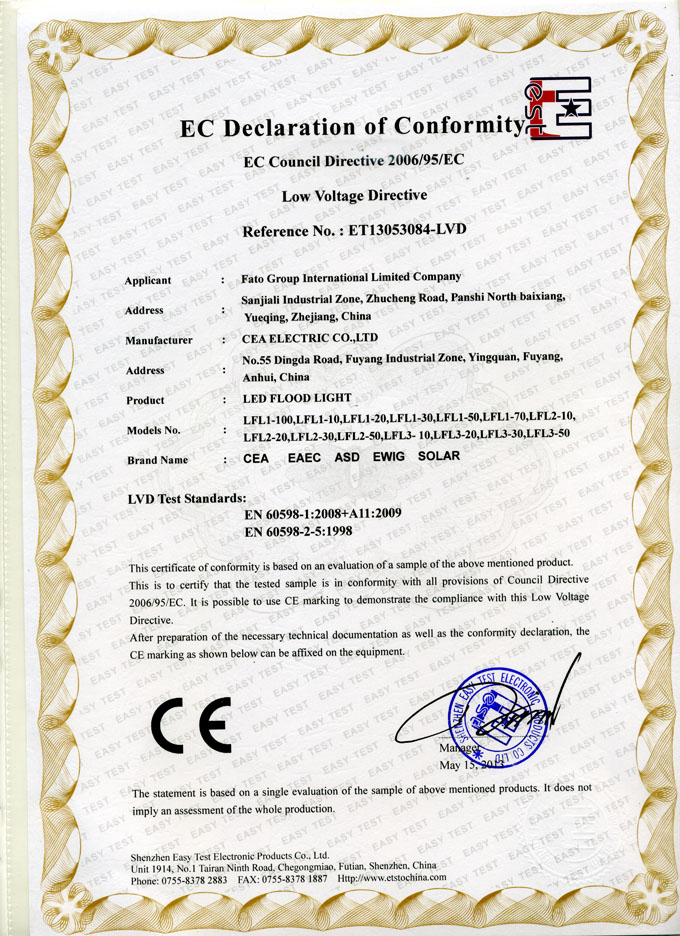CE Certificate for LED Flood Light