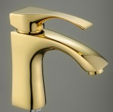 Brass Basin Faucet with Golden Color