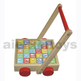 Wooden Toy - Wooden educational toy - Alphabet Cart with Handle
