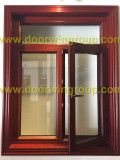 American Red Oaken Wood Aluminum Windows