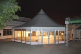 Diameter 16m octagonal pagoda tent with glass wall and glass door in Panama