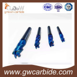 Tungsten carbide end mills with coating for cutter
