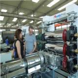 Customer test cross linked PE heat shrinkable sleeve machine in our factory