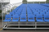 OUTDOOR BLEACHER GRANDSTAND SEATING PORTABLE AND DISASSEMBLED