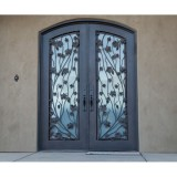 beautiful eyebrow irnamental iron entry door with leaves