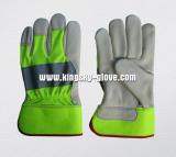 Hi Viz Colorful Cow Grain Leather Palm Glove