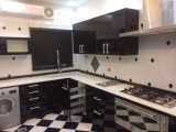 Black high gloss lacquer kitchen cabinet from Saudi Arabia Client