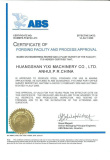 CERTIFICATE OF FORGING FACILITY AND PROCESS APPROVAL AMERICAN BUREAU OF SHIPPING
