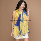 New Style Chiffon Printed Scarf with Flowers for Women