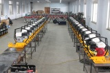 Assembly line for plate compactor